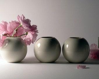 Three Mini White Porcelain Vases - Summer Wedding Edition -  SALE