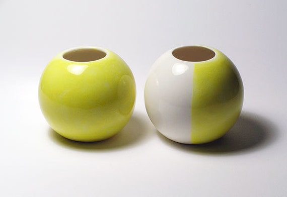 Sphere Vases - Pair, All Yellow and Yellow & White - Set of 2 - HOLIDAY SALE