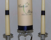 Customized Unity Candle Set in White or Ivory - Monogram Included Free (No Rush Fees)