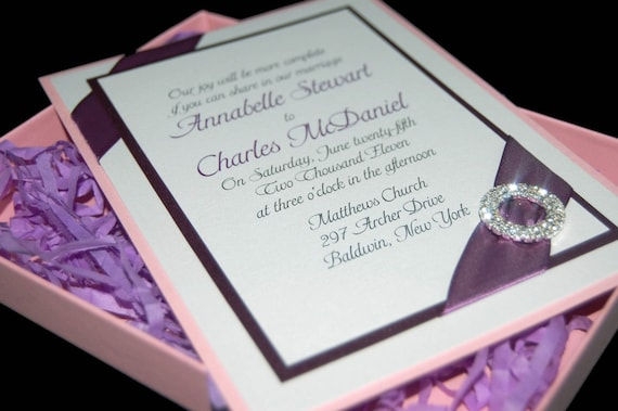 The Graceful Glitzy Boxed Wedding Invitation (RSVP Postage Included)