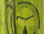Buddha Cries A Leaf 12X24 Mixed Medial Original