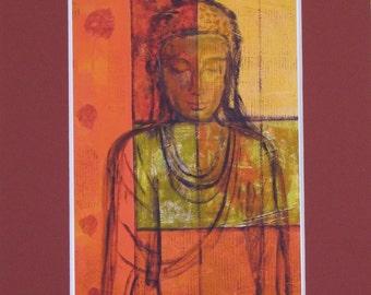 Bodhi Leaf Buddha Print 8x10