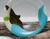 Mermaid Fused Glass Bowl Light Blue Tail