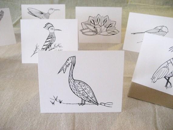 Set of 8- Greeting Cards- Blank- Birds
