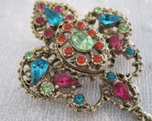 SALE- Vintage Colorful Antique Gold Plated Filigree Brooch- Highly Decorated, circa 1980s