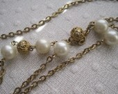 Vintage Gold Chain & Pearl Necklace- Long or Layered