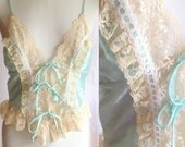 Vintage Pastel Mint Lingerie Top Lined in Beige Lace- Lace up- size medium, light green, sexy, spring, summer, vintage lingerie, 1980s