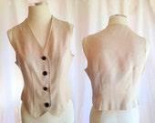 Vintage Light Brown Vest- beige, brown, short vest, v-neck, button up, medium, cotton polyester, circa 1980s, Karin Morgan