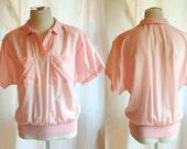 SALE- Vintage Diane Von Furstenberg Sheer Pink Blouse. Spring. Summer. Short Sleeve. Designer Fashion. Circa 1970s. Medium/Large.