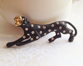 Vintage Sale- Gold Black Leopard Brooch with Crystal Rhinestones. Panther. Wild. Safari. Vintage Pin. 1980s. Whimsical