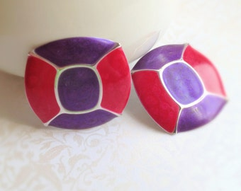 Vintage Earring Sale. Pink. Purple. Square Earrings. Mod. Metal. Enamel. Pierced Ears. Bold. 1980s. Bright Accessory.