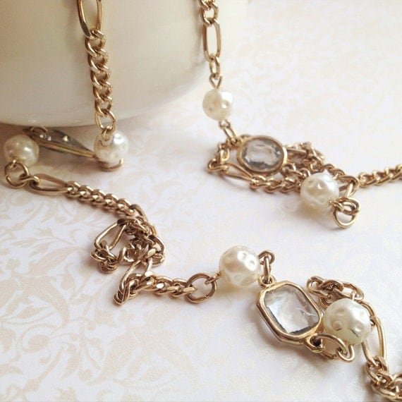 Vintage Gold Chain, Glass and Pearl Necklace- Long or Short- antique gold, crystals, spring, double strand