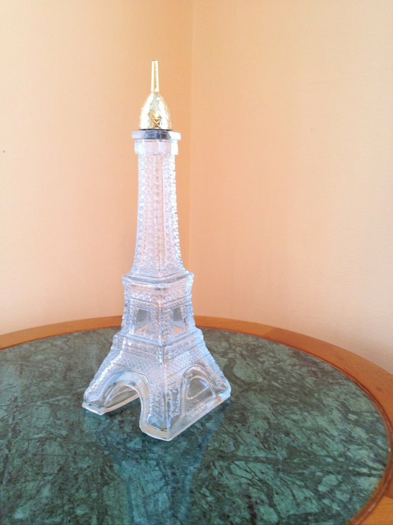 Vintage Glass Eiffel Tower Perfume Bottle. Rare. Avon. Gold. Home Decor. Paris. Shabby Chic. Decoration. Gifts for Her. Feminine.