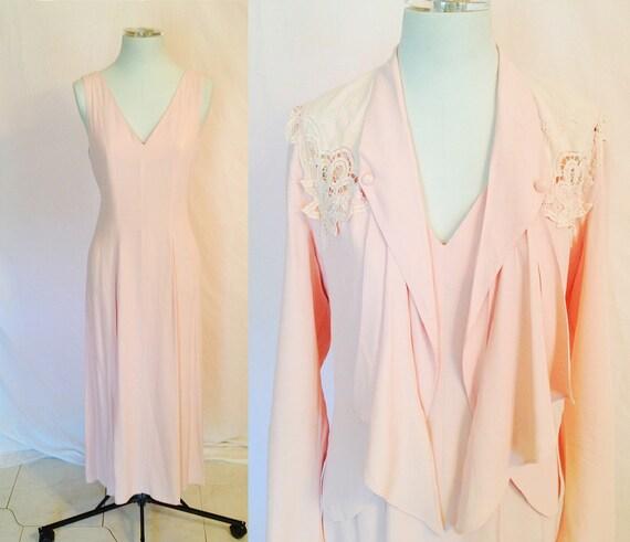 Vintage Light Pink Long Dress with Matching Jacket. Pastel. Lace. Maxi Dress. Size Medium. Shabby Chic. 1990s.