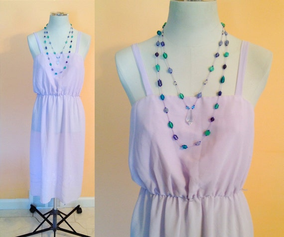 Vintage Sheer Lavender Dress. Purple. Long Dress. Thin Strap. Size Medium. Romantic. Stitched Flowers. Feminine. Sheer Dress. Pastel.