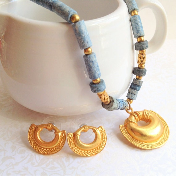 SALE- Vintage Gold U Shaped Necklace Earring Set. Columbia. Gold Tone Pendant. Gifts for Her. Small Earrings. Denim. Blue Stones. Southwest.