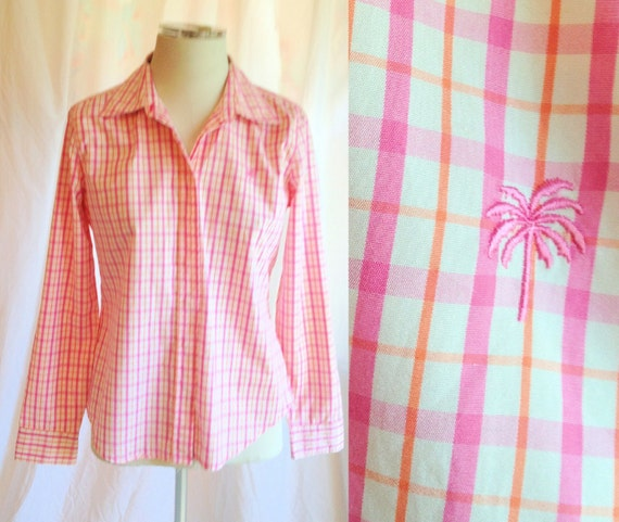 SALE- Vintage Cotton Lilly Pulitzer Plaid Collared Shirt- pink, orange, white, size 2, size small, palm tree, spring, summer, 1990s