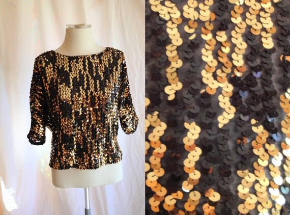 Vintage Sequin Black Gold Top. Size Medium. Oversized Top. Sparkle. 1980s. Date Night. Formal. Doleman Sleeve.
