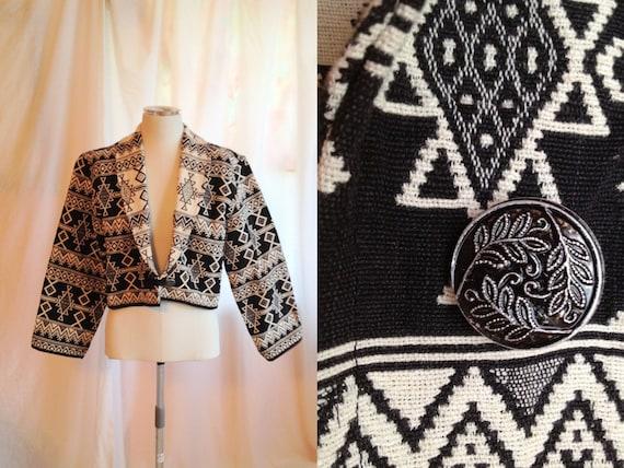 RESERVED for AB- Vintage Black & White Cotton Jacket. Geometric Pattern. Diamond Pattern. Tribal. Short Jacket. 1990s. Size Small. Bold Jack