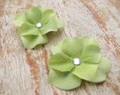 Small Lime Green Hydrangea Flower Fascinator Hair Clip Bridal Wedding Floral Head Piece Rhinestone Crystal Corsage Brooch Bridesmaid Pin