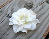 Small Light Ivory Flower Fascinator Hair Clip Bridal Hair Piece Floral Brooch Pin Little Rhinestone Crystals Wedding Hair Jewelry
