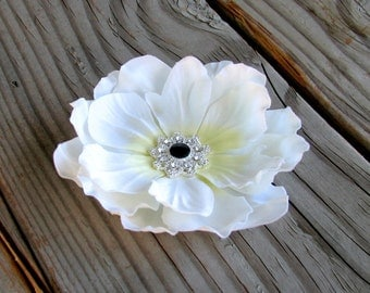 Flower Hair Clip Fascinator Off White Anemone with a Black Rhinestone Set in Silver Center Wedding Accessories