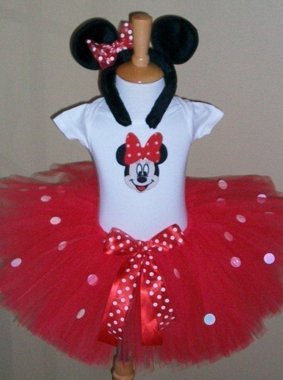 Red Sparkle Minnie Mouse Costume set