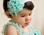 LACE  ROMPER with Shoulder Straps and Bow & Matching HEADBAND  20  colors  to choose from S, M, or L