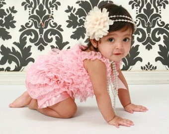 Beautiful Petti Lace Romper with Shoulder Straps and Bow  15 colors  to choose from S, M, or L