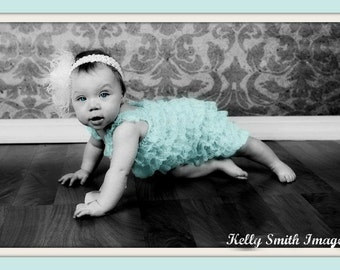 HEADBAND and petti lace   ROMPER with Shoulder Straps and Bow 17 colors  to choose from S, M, or L
