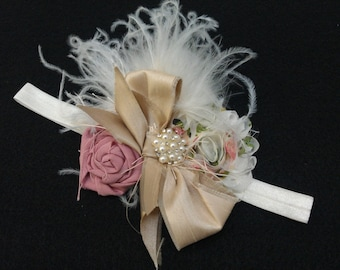 Headband to matchAntique Inspired Petti Baby Lace Rompers with rolled roses, ostrich feathers, crystals, and pearls