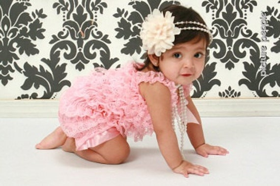 Pink Lace Romper, Petti Lace Romper, Romper with shoulder straps and attached bow