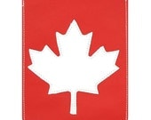 Mally Leather Sleeve Style Canadian Passport Holder Case - White Maple Leaf on Red