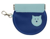 Mally Circular Leather Change Purse wiith Squeeze Frame Closure and Clip - Cat on Dark Blue.