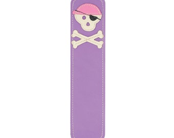 Leather Bookmark with Pirate Skull Design, Purple