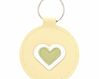 Valentine's Gift - Key to my Heart Leather Key Fob Keychain Key Holder - Lime Green and White Heart Applique on Yellow