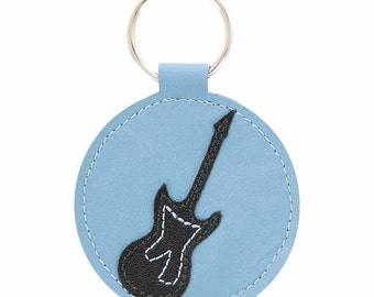 Mally Designs Leather Keychain Key Holder Ring - Black Electric Guitar on Blue