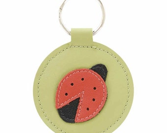 Mally Designs Round Leather Keychain Key Holder Ring - Red Ladybug Design on Lime Green