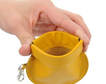 Mustard Yellow Coin Purse // Round Change Purse // Squeeze Purse // Leather Coin Case with Optional Strap // Modern Purse // Leather Pouch