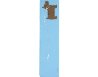 Leather Bookmark with Dog Design, Blue