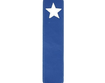 Leather Bookmark with Star Design, Blue