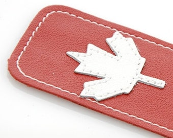 Leather Bookmark with Maple Leaf Design, Red