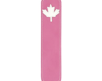 Leather Bookmark with Maple Leaf Design, Pink
