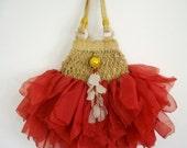 stunning red lipstick  handbag with sea glass