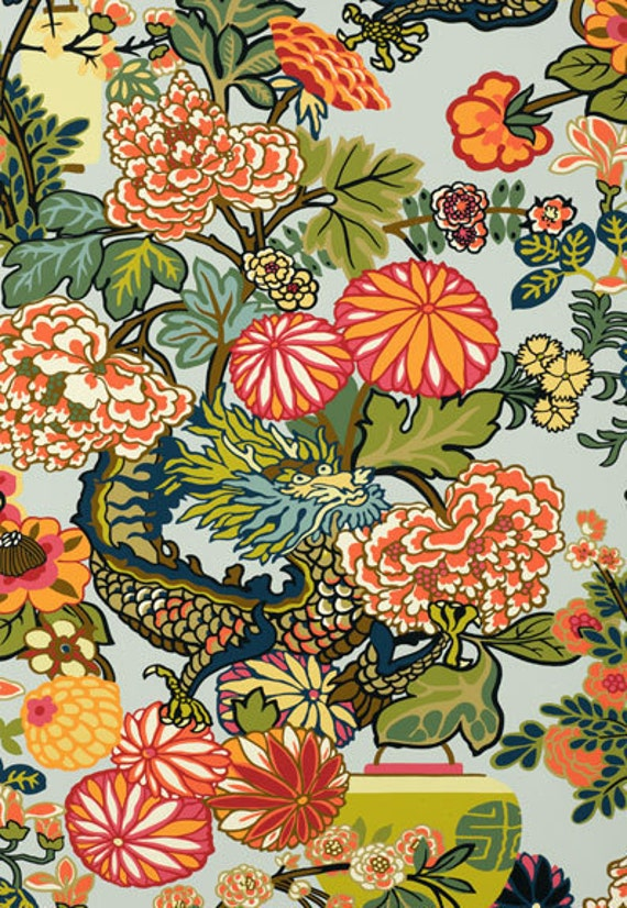 Items Similar To Schumacher Wallpaper In Chiang Mai Dragon