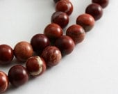 Red Flake Jasper Beads 6mm Round  - Half Strand