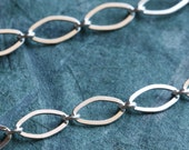 Sterling Silver Chain by the Foot - Flat Diamond Oval Long and Short 4mm x 7mm - Select Lengths to 3 feet