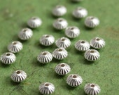 Sterling Silver Spacer Beads 3.3mm fluted saucer beads - Select Pack Size