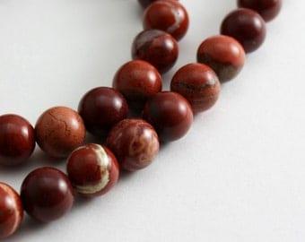 Red Flake Jasper Beads 6mm Round  - Half Strand