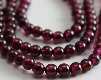 Natural Garnet 4mm Round Beads